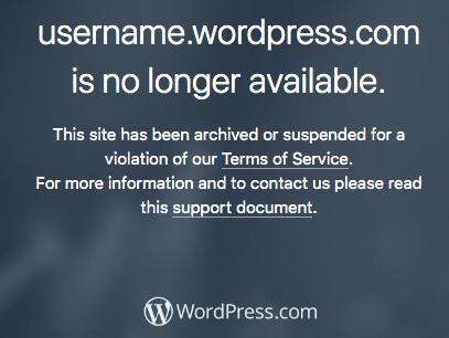 Deleted Wordpress.com site screenshot